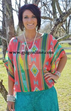 Giddy Up Glamour www.gugonline.com $34.95 Chief of Cute Coral Aztec Shirt