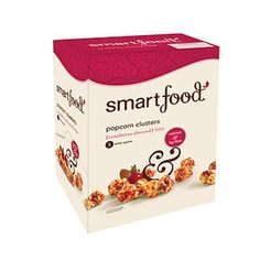 HEALTHY SNACK: SMARTFOOD CRANBERRY ALMOND POPCORN CLUSTERS  These tasty popcorn clusters are an excellent source of calcium and fiber without any gluten, trans fats or MSG to spoil the party.  Calories: 120