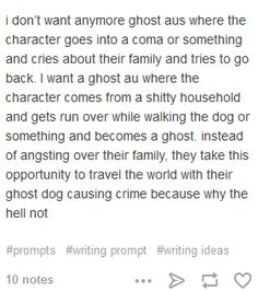 writing prompt: ghost au's