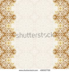 seamless border vector ornate in eastern style vintage elements for design place for text