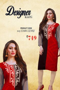 Red and Black #DesignerKurti Look stunning in this multicolor daily wear #georgettekurti from #Amafhh. Pair it up with denims, leggings and churidar trousers and create a new look ever so often. #womanwear #casualwear #shopping #casualoutfit #dailywear #newdesigns #onlinekurti #thechoiceisyours