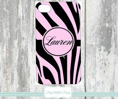 MONOGRAMMED PHONE Covers Personalized Phone Case Cases Pink Black Zebra Print Custom Print Animal Print Samsung Galaxy IPhone Monogram Cover Cell Phone Accessory $21.99