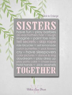 Sisters wall art sisters nursery decor twin by WillowLanePrints, $15.00