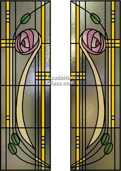 Traditional Renee Mackintosh Stained Glass door