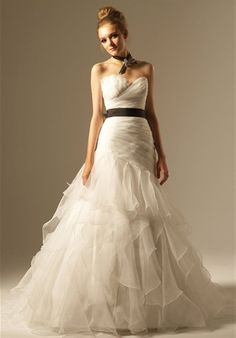 wedding dress bridal black sash