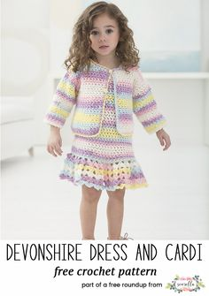 Crochet this cute girls dress and cardigan sweater for kids from my baby playtime essentials free pattern roundup! Crochet Baby Cardigan Free Pattern, Cardigan Au Crochet, Cardigan Bebe, Crochet Baby Blanket Beginner, Dress With Cardigan, Baby Knitting, Crochet Patterns, Crochet Bebe, Crochet Girls