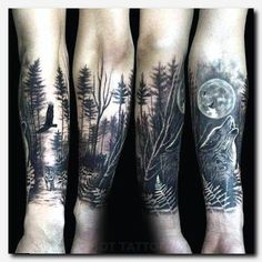 wolf tattoo design Fox Art is part of Coolest Wolf Tattoo Designs Wild Tattoo Art - Wolf Howling At The Moon Male Forest Tattoo Sleeve On Forearms UltraCoolTattoos Polynesiantattoos Forest Tattoo Sleeve, Wolf Tattoo Sleeve, Forest Tattoos, Sleeve Tattoos, Wolf Sleeve, Nature Tattoo Sleeve, Male Tattoo Sleeves, Dark Forest Tattoo, Mountain Sleeve Tattoo