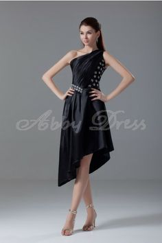 A-line Sloping-shoulder Asymmetrical Hem Beaded and Pleat Short-length Satin Dress