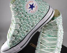 c7330307d2ca Wedding Converse- Bridal Sneakers- Bling   Pearls Custom Converse Sneakers-  Bridal Chuck Taylors- Wedding Sneakers- Converse hochzeit- Bride