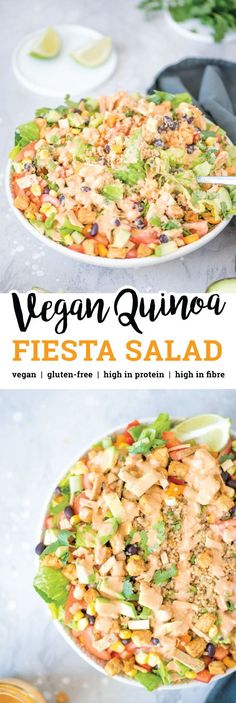 This Vegan Quinoa Fiesta Salad Bowl features healthy ingredients like black beans, chipotle sauce, corn, bell peppers, green onion, crushed tortilla chips, shredded lettuce, tomato, tempeh and avocado. High in protein and fibre.