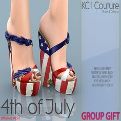 4th Of July Amelia Wedges. Second Life. I strongly recommend you hurry up on this one, before it is no longer free. Share this quickly to your friends!!