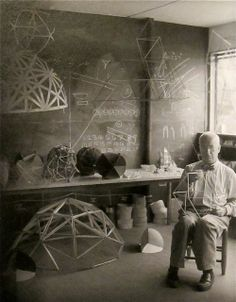 Buckminster Fuller Heard him speak (for what seemed like forever) in 1973 at UNB - much older than in this picture, but, since he began at the (his) beginning, he had a lot to say...