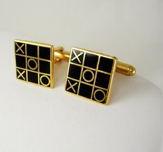 Tic Tac Toe Cufflinks Vintage Enamel And Gold Hinged Back Kisses And Hugs I Love You Business Christmas Anniversary. This vintage pair of tic