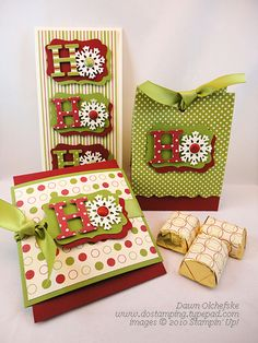 Stampin' Up! Christmas by Dawn O: Card, Favor Bag and Gift Card Holder