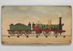 North British Locomotive No 35, Graphically Depicted on Rails, under Steam, with a Coal Filled Tender, Driver and Fireman, Rare British 19th Century Naive School, Oils on Early Wooden Panel, The Locomotive Inscribed 'North British 35' and Hawthorn and Co'  British, c.1850 |  It is delightfully well detailed and retains excellent colours. Now slightly bowed with age in a charmingly naïve fashion. A most unusual subject, lovingly executed, possibly by a railwayman. #BritishFolkArt
