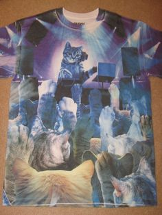 Cat New T-Shirt Abstract Indie Design Graphic Top Kitten Meow