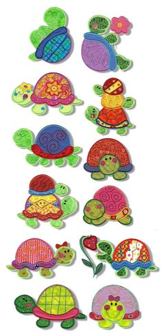 Totally Turtles Applique design set available for instant download at www.designsbyjuju.com