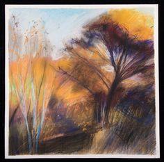 Rebecca Ryland, Oak savannah near Putah Creek, x watercolour and chalk pastel Pastel Landscape, Watercolor Landscape, Pastel Paintings, Pastel Art, Photo Tree, Chalk Pastels, Gouache, Art Boards, Painting & Drawing