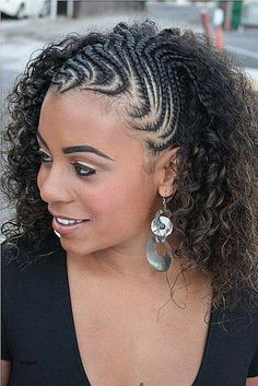 """Half cornrows to twist out. That is so cool, Hair Care Tips, """" Half cornrows to twist out. That is so cool Source by brooklynken. Side Braid Hairstyles, Braided Hairstyles For Black Women, Braids For Black Hair, My Hairstyle, African Hairstyles, Afro Hairstyles, Black Hairstyles, Gorgeous Hairstyles, Hairstyles 2016"""