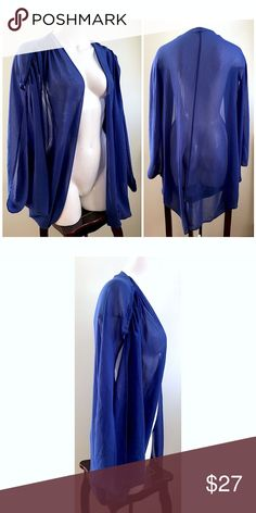 """Pins & Needles Electric Blue Draped Sheer Kimono NEW Urban Outfitters Pins & Needles Electric Blue Open Front Draped Sheer Cardigan Kimono Sweater Sz Large  Brand:Pins & Needles (Urban Outfitters) Size:Large Condition: new without tags Material: 100% polyester · Draped  · Sheer · Open cardigan · Electric blue color Measurements laying down: Chest: about 21"""" Center length (shoulder to hem): 37""""   Product ID 5-pers-1217 Urban Outfitters Sweaters Cardigans"""