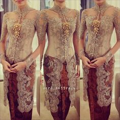 Dusty grey on batik Vera Kebaya, Kebaya Lace, Kebaya Dress, Batik Kebaya, I Dress, Lace Dress, Kebaya Muslim, Kebaya Hijab, Kebaya Brokat