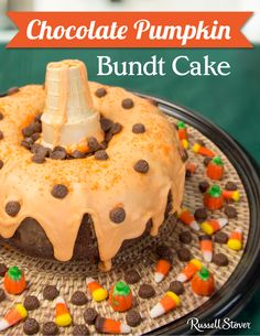 "Dress up your bundt cake this Halloween! Pour orange icing on top,  add an ice cream cone for a ""stem."" and surround it with handful of Russell Stover Candy Corn. Submitted by Cheryl H."