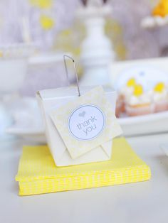 "These mini takeout boxes look fabulous lined up on a serving tray on the dessert table.  Fill with various goodies and top with a coordinating ""thank you"" tag for guests to take a home a sweet memory of a delightful occasion."