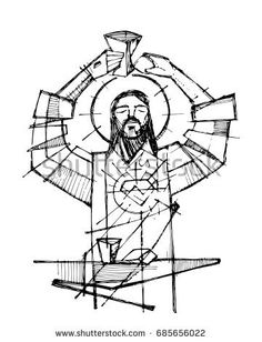 Hand drawn vector illustration or drawing of Jesus Christ and Eucharist religious symbols