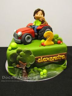 Doces Opções: O Alexandre a passear o cão de trator no seu 2º an... Desserts, Food, Design, Dog Walking, Cakes For Boys, Tractors, Fiesta Cake, Anniversary Cakes, Girls