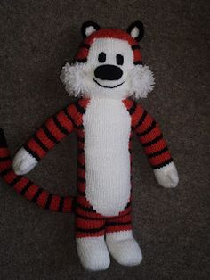 Free Tall Tiger Pattern from Brown Eyed Babs blog - cute knit toy tiger!