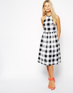 The 20 Best Gingham Pieces to Buy This Spring -  Midi skater dress in gingham, $37; at ASOS