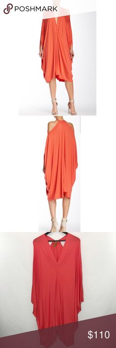 Rachel Pally Gwyneth Short Caftan Super cute, comfy and soft caftan. Plunging V neckline, cold shoulder, loose silhouette, draped front, hi-low hem, dolman sleeves. Can be worn as maternity dress. Color is persimmon. NWOT Rachel Pally Dresses