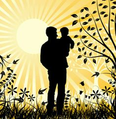 daddy and child silhouette | Father & Baby Silhouette Sunset Vector Background | Other PSD