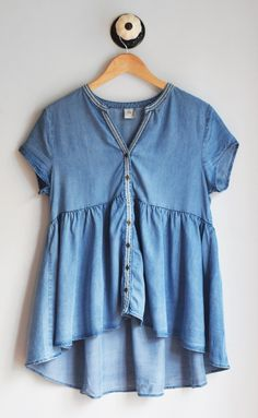 Chambray Peplum Blouse