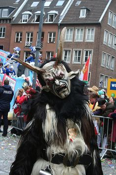 """Something you see more down in the south of Germany: Scary costumes and noise chase away winter demons in ancient times. They call Karneval Fasching. This Germanic word dates from the 13th century and the Middle High German word vascganc or vastschnag (Fastenschank, """"last [alcoholic] drink before fasting""""). The word later joined other German words ending in -ing to become Fasching."""