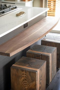 The team used salvaged Douglas fir from the property to make breakfast bar stools.