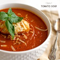 Spicy Roasted Tomato Soup | 4 lbs campari tomatoes, roasted, 1 medium yellow onion, chopped, 1 tbs fresh garlic, minced, 1 tbs olive oil, 1/3 cup dry red wine, 16 oz chicken stock, 1 tbs balsamic vinegar, 6oz can tomato paste, 1/2 fresh lemon, juiced, 10-12 leaves fresh basil, chopped, 1/2 tsp red pepper flakes, 1 tsp kosher salt, 1/2 tsp freshly ground black pepper