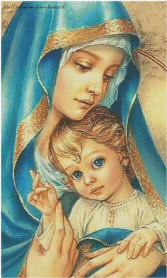 Blessed Mother Mary with child Jesus Religious Pictures, Jesus Pictures, Religious Icons, Religious Art, Blessed Mother Mary, Divine Mother, Blessed Virgin Mary, Madonna Und Kind, Madonna And Child