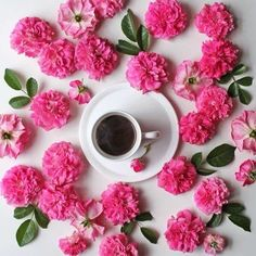 Coffee and flowers are always a good idea Coffee Cafe, My Coffee, Coffee Shop, Coffee Mix, Coffee Break, Morning Coffee, Pretty In Pink, Beautiful Flowers, Beautiful Things