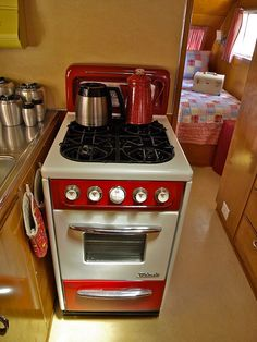 red & white stove