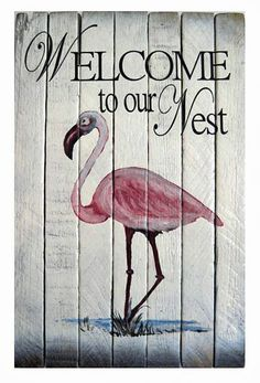 COASTAL WALL ART - PINK FLAMINGO WELCOME SIGN  - NAUTICAL WOODEN SLAT WALL SIGN #Nautical
