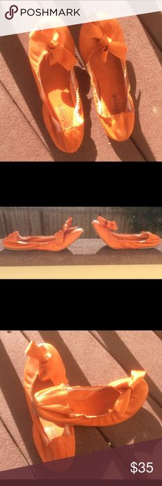 Sundance flats made in Italy Cute sundance orange with bow flats made in Italy size 38 good condition no tears to the leather. Signs of wear on the out sole, very comfortable. Sundance  Shoes Flats & Loafers