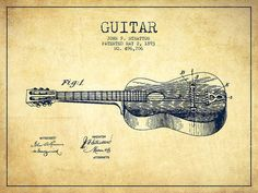 Guitar Patent Poster featuring the drawing Stratton Guitar Patent Drawing From…