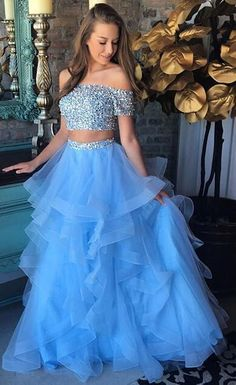 2018+Prom+Dress,+Sparkly+Two+Piece+Long+Prom+Dress,+Blue+Long+Prom+Dress,+Formal+Evening+Dress Contact+me:+<b>modseley.com@outlook.com</b> please+email+which+color+you+want+after+or+before+you+place+the+order.+Also+you+can+put+down+your+color+or+size+or+date+requirement+in+the+note+box+when+y...