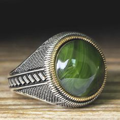 925 K Sterling Silver Man Ring Green Amber 11,5 US Size $39.90