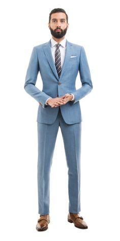 Light Blue Linen-Wool suit | Black Lapel $499