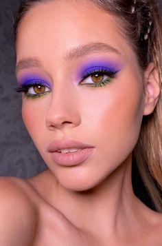Makeup Eye Looks, Eye Makeup Art, Smokey Eye Makeup, Glam Makeup, Pretty Makeup, Skin Makeup, Eyeshadow Makeup, Pop Of Color Eyeshadow, Crazy Eyeshadow