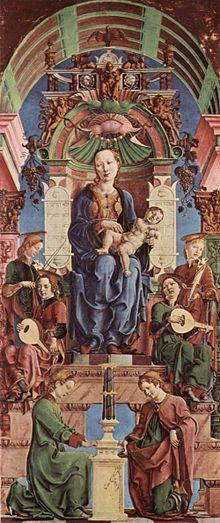 Cosme Tura -Polittico Roverella - Madonna col Bambino in trono