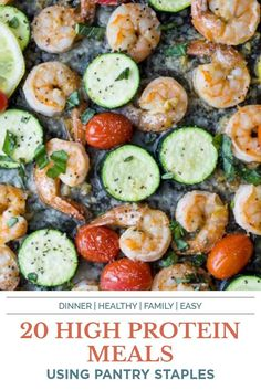 20 Delicious High Protein Meals that are light, easy to make and loaded with protein to fill you up for the day! Each of these meal ideas is packed with lean meats, veggies and pantry staples to make them a great healthy dinner for the family during the week! #prep #highprotein #lowcalories Shrimp Recipes Easy, Quick Dinner Recipes, Easy Healthy Recipes, Seafood Recipes, Healthy Eats, Healthy Foods, Pork Recipes, Fish Recipes, Salad Recipes