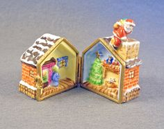 ebay.comNEW FRENCH LIMOGES BOX SANTA CLAUS W GIFTS ON ROOF OF HOUSE W KIDS & XMAS TREE ebay.com